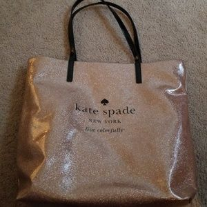 Kate spade rose gold glitter bon shopper